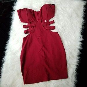Charlotte Russe Sleeveless Red Cutout Dress Size S